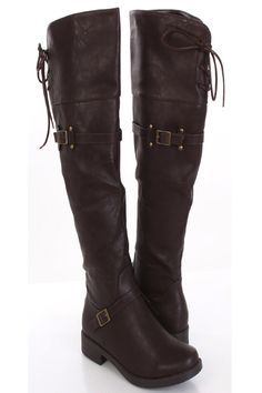 speerys to knee tie up boots   ... Leather Buckle Closed Toe Over The Knee Flat Boots Footware Shoes Sale