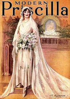 Beautiful bride on the June 1930 cover of Modern Priscilla magazine