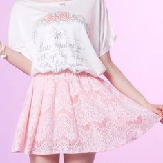Elasticized-Waist Lace A-Line Skirt from #YesStyle <3 Tokyo Fashion YesStyle.com