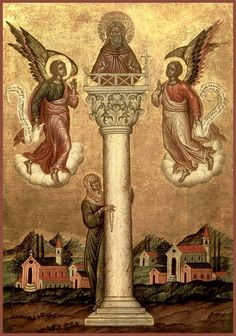 Science of the Saints, Sep.), St Simeon the Stylite Orthodox Catholic, Catholic Saints, Orthodox Christianity, Byzantine Icons, Byzantine Art, Saint 14, Day Of Pentecost, Religion, Religious Images