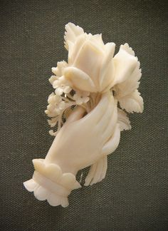 Carved ivory bouquets, English(?), mid-19c