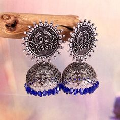 Oxidized German Silver Handmade Indian Bollywood Jhumka Jhumki Earrings For women/ Light weight Jhumka/ Crystal jhumka/Dangler Earrings Blue Jhumki Earrings, Women's Earrings, Metal Jewelry, Jewelry Sets, Silver Jewelry, Gold Earrings Designs, Indian Bollywood, Handmade Silver, Earring Set