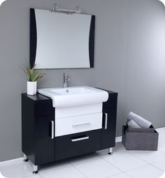 """43"""" Vita Single Vanity with Mirror. Post modernism at its finest - $949.00"""