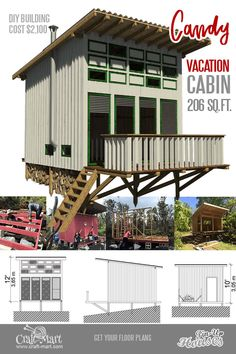 Candy is a charming cabin with an extended front porch and a loft. The loft can be used for sleeping or serve as storage space if you are ok to sleep on the couch downstairs. Micro House Plans, A Frame House Plans, House Plan With Loft, Tiny House Loft, Tiny House Trailer, Tiny Houses, Lake Houses, Building A Cabin, Building Costs