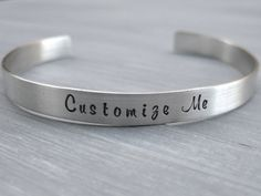 Customizable Sterling Silver Cuff Bracelet by ESDesigns14 on Etsy
