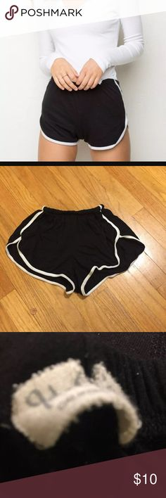brandy melville sporty shorts sporty black and white brandy shorts. super soft and stretchy. in good condition Brandy Melville Shorts