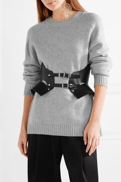 Zana Bayne - Bat Cutout Studded Leather Waist Belt - Black - L