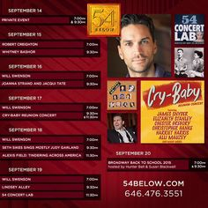 Week of September 14th, 2015 performance schedule. Click to buy tickets.