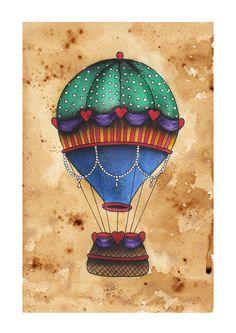 Hot Air Balloon watercolour painting. $14.00, via Etsy.