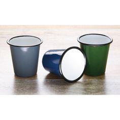 Juego de 6 vasos esmaltados de 310ml con borde negro Olympia