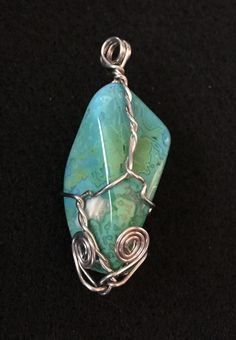 Wire Wrapped Stone Pendant by BoomChakraLaka on Etsy