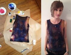 How to turn a dark colored item of clothing into a Galaxy! Using: Bleach, fabric paint or acrylic paint in purple, blue, red, white and yellow, a spray bottle, sponges, and an old toothbrush.