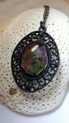 Dyed Skeleton leaves Resin Necklace Black by FriendsCrafts55