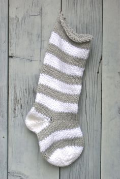 Chunky Gray & White Striped Knitted Stocking | PreciousKnits - Seasonal on ArtFire