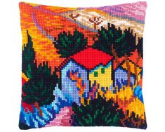 Throw Pillow 16/×16 Inches Needlepoint Kit Printed Tapestry Canvas Starry Night by Vincent Van Gogh European Quality