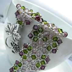 "Bracelet for my mum - Swarovski crystals and sterling silver (Joetta Payne's ""Sparkling Garden"" pattern)"