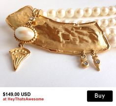 Chunky Givenchy Necklace Choker Gold Tone Double Strand Necklace Faux Pearl Jewelry Rhinestone Jewelry Statement Piece S