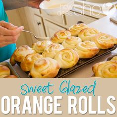 Food and Drink. Sweet Glazed Orange Rolls...a HUGE hit at my house! We've made them a traditional breakfast! recipe found at howdoesshe.com