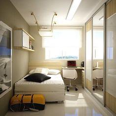 Quarto de apartamento pequeno solteiro com cama, escrivaninha e guarda roupa