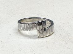 Hammered Sterling Silver Wrap Ring  9mm wide by NurturedWorks