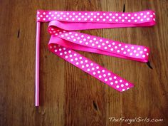 Twirling Ribbon                                             1 Wooden Dowel: I used one that was 7/16″ x 12″  2 yards of 1″ ribbon  Craft Paint  Small Sponge Applicator for painting