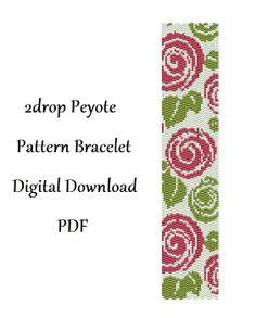 2drop Peyote Pattern Bracelet Roses .  Instant от HoneyPear, $3.00