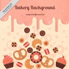 Delicious bakery background Free Vector