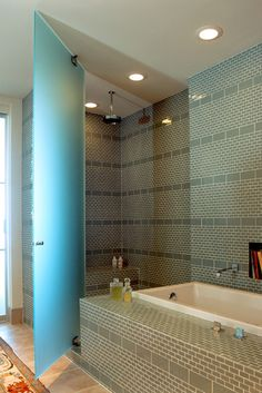 add stripe pattern with different sized subway tile