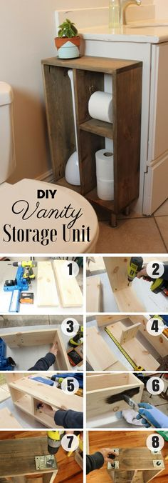 Easy to build DIY Vanity Storage Unit for rustic bathroom decor @istandarddesign