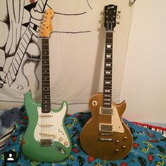 Why not just have both? Thanks @peppepanagia #guitarspotter #gibson #fender #lespaul #stratocaster