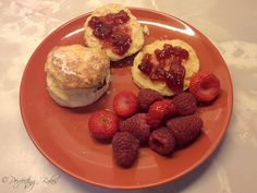 Homemade Scones with Jam and Fresh Fruit
