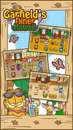 Free App: Garfield's Diner Hawaii: help Garfield and his friends run their own restaurant!