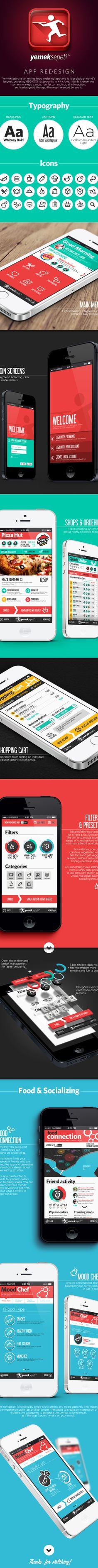 Yemeksepeti / Food Delivery App. Redesign by Ufuk Cetincan, via Behance