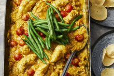 Chicken Korma and Risoni Bake Curry Paste, Steamed Green Beans, Chicken Tenderloins, Rice Pasta, Canned Coconut Milk, Indian Curry, Savoury Recipes, Roasting Pan