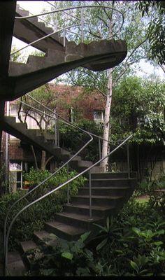 1 cairo flats nicholson street fitzroy exterior staircase oct1993 Brick Block, Archipelago, Staircases, Cairo, Garden Bridge, Bricks, Future House, Writers, Melbourne