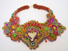 Calling Bombay - Unique bead embroidered Soutache braid statement necklace. $450.00, via Etsy.