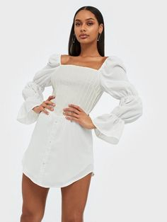 - Lilly is Love Missguided Outfit, Bra Sizes, New Outfits, Corset, Bodice, Party Dress, Cold Shoulder Dress, White Dress, Legs