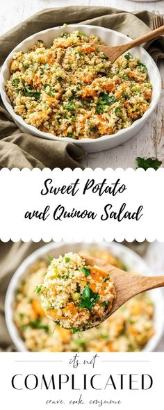 Learn how to make this delicious Sweet Potato Quinoa Salad. This gluten-free and vegan salad is flavoursome and so easy to prepare. Ideal lunch or side dish. Head to the blog to get more details and the recipe. Sweet Potato Quinoa Salad #quinoasalad #quinoarecipes #glutenfreesalad #sweetpotatorecipes #saladrecipes #easyrecipes #appetizerrecipes #itsnotcomplicatedrecipes #cravecookconsume itsnotcomplicatedrecipes.com Yummy Quinoa Recipes, Gluten Free Quinoa Salad, Healthy Eating Recipes, Healthy Salad Recipes, Side Dish Recipes, Lunch Recipes, Vegetarian Salad, Dinner Recipes, Meatless Recipes