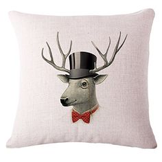 LeiOh Decorations Cotton Linen Square Cute Christmas Deer Pattern Throw Pillow Case Sofa Cushion Cover 18 x 18Christmas Gifts for Home * Continue to the product at the image link.