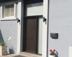 Modern Fiberglass Door with Side Lites and Transom and Frosted Glass