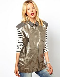Silver leather waistcoat