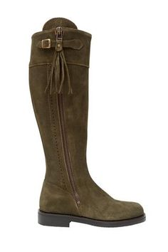 Picture of Spanish Riding Boots suede: Green (flat sole)