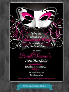 Masquerade Party Custom Designed invitation with Black and White Damask Mask 13th Birthday Parties, 35th Birthday, Adult Birthday Party, 50th Party, Birthday Ideas, Masquerade Wedding Invitations, Masquerade Theme, Masquerade Ball, Red Carpet Party