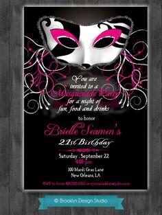 Masquerade Party Custom Designed Invitation - Black, Hot Pink and White -  Masquerade or Mardi Gras Theme - Digital File. $15.00, via Etsy.