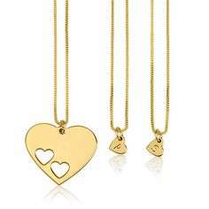 Fall in love with this personalized set of 24K gold plated engraved heart necklaces with large cut out heart shaped pendant necklace. Share them with loved ones.