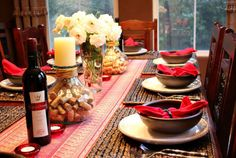The New Portuguese Table, for ideas and inspiration. Then she threw a dinner party to share this newfound knowledge with friends. How to decorate: Lange showcased Portugal's rustic, old-world beauty in her table decorations. She used a red tablecloth and richly patterned runner to crea