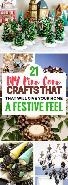 Diy pine cone crafts that will make the best Christmas decorations! I can't wait to try all of them. Really gorgeous ideas to make your home look festive and trendy. Super cheap too!