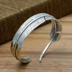 Men's Sterling Silver Two-Tone Feather Cuff Bracelet