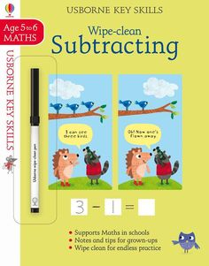 """""""Wipe-clean subtracting at Usborne Children's Books Secret Notes, Subtraction Activities, Clean Book, Information Age, Free Activities, School Notes, Math Lessons, Kids Learning, Cleaning Wipes"""