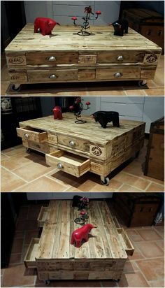 Some people wish to add their living room with creative impressions and choosing the wood pallet table with drawers is the attractive options. You can easily place it in one corner of the living room by setting it with some decoration pieces. It would give out so unique look for sure.